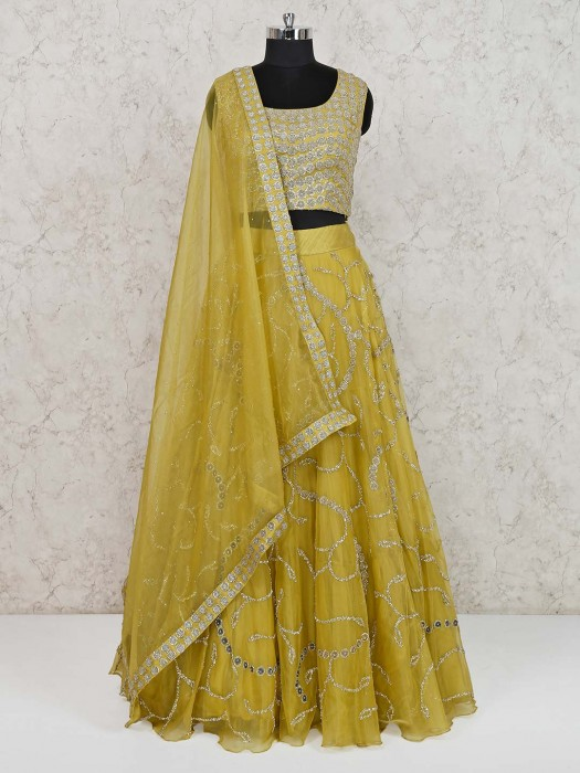 Yellow Tissue Silk Wedding Wear Lehenga Choli