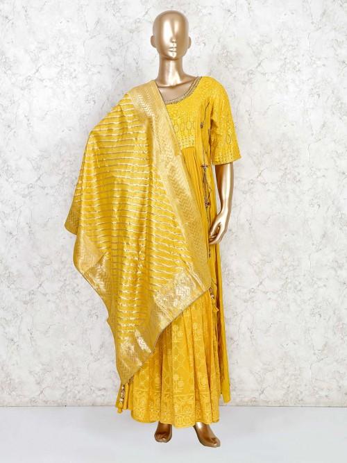Yellow Wedding Georgette Anarkali Palazzo Suit