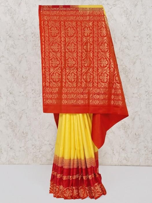 Yellow Wedding South Silk Saree