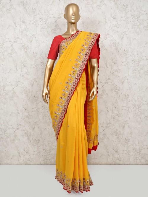 Yellow Wedding Wear Cotton Silk Saree