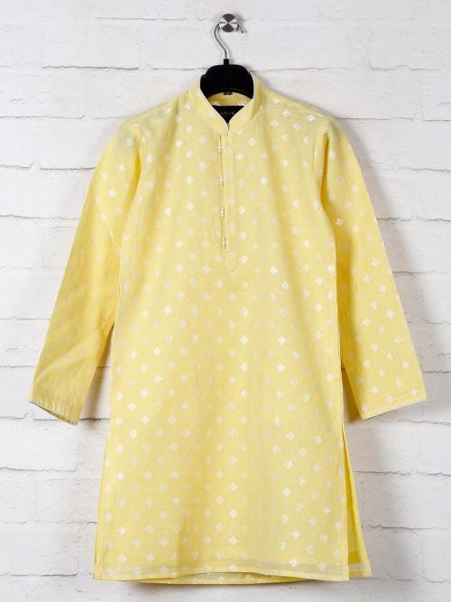 Yellow Zitter Patern Cotton Kurta Suit
