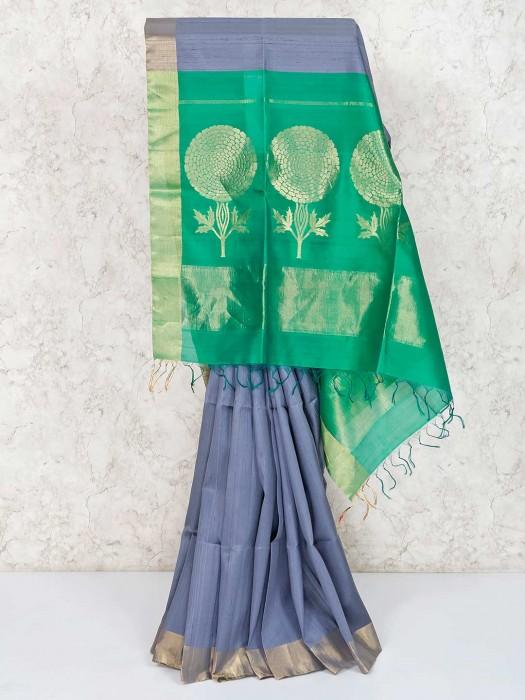 Zari Weaving Grey Pure South Silk Saree