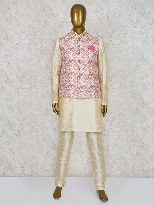Zilk Zak Pattern Pink And Beige Silk Waistcoat Set