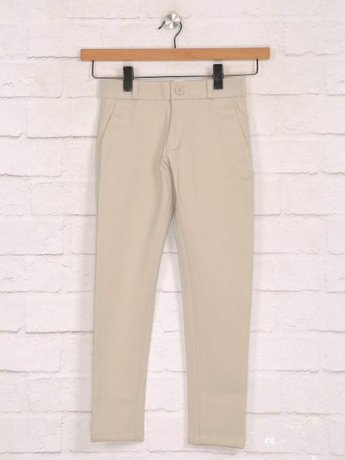 Zillian Beige Cotton Casual Boys Trouser
