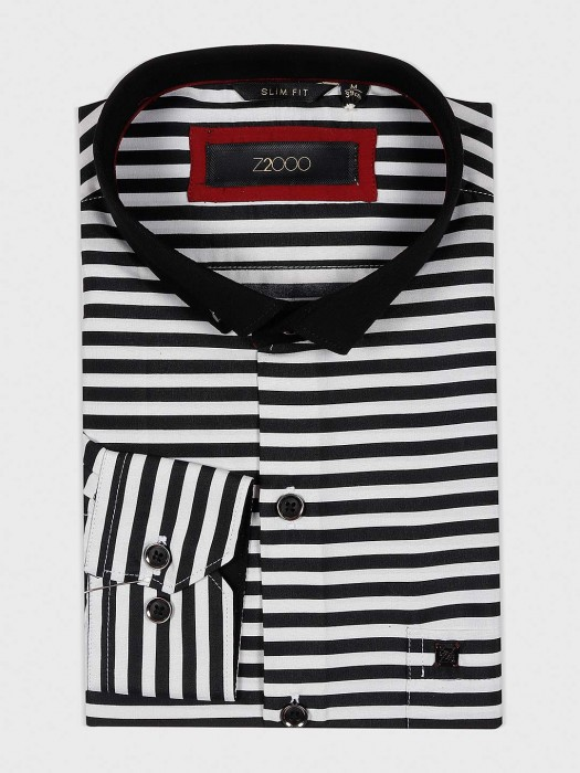 Zillian Black And White Hue Stripe Shirt