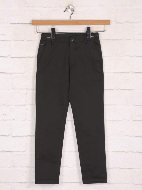Zillian Black Cotton Casual Wear Boys Trouser