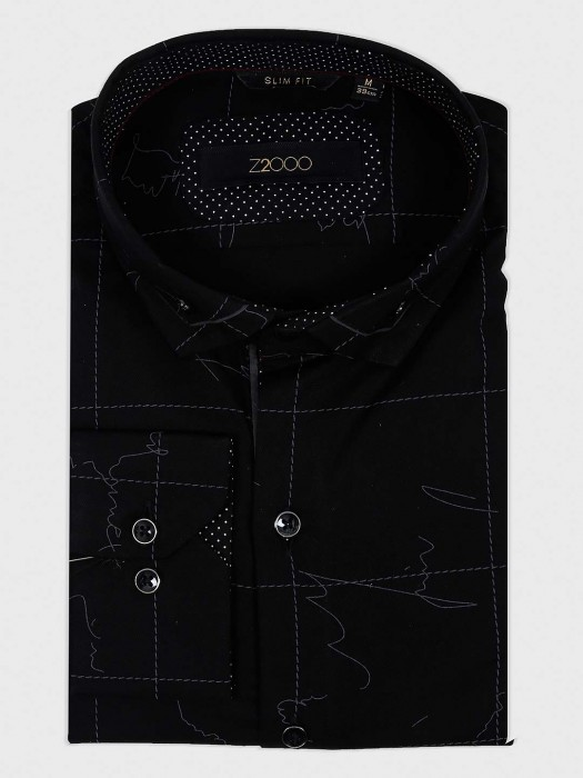 Zillian Black Cotton Fabric Printed Shirt