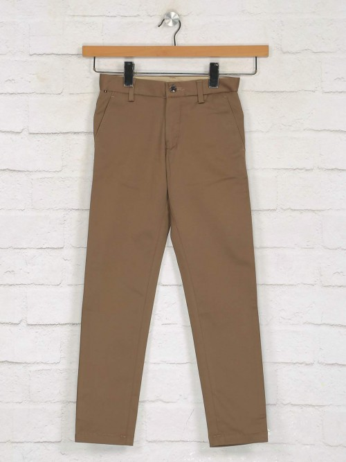 Zillian Brown Solid Cotton Casual Trouser