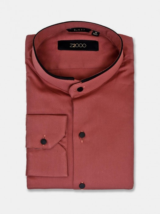 Zillian Chinese Collar Maroon Solid Shirt