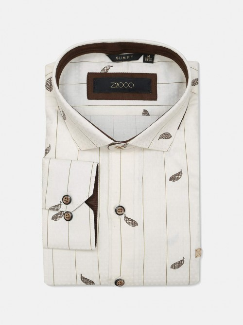 Zillian Cream Printed Formal Mens Shirt