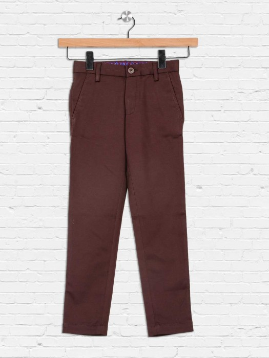 Zillian Dark Brown Cotton Trouser For Boys