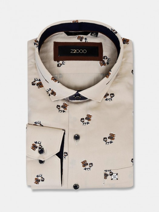 Zillian Flower Printed Cream Cotton Shirt