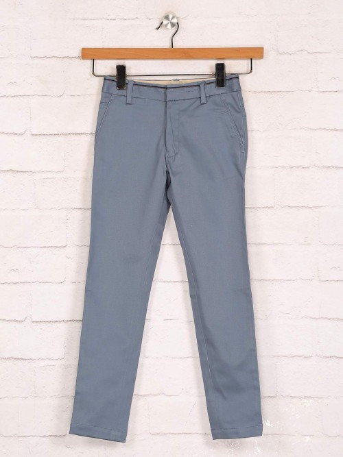 Zillian Grey Slim Fit Cotton Trouser