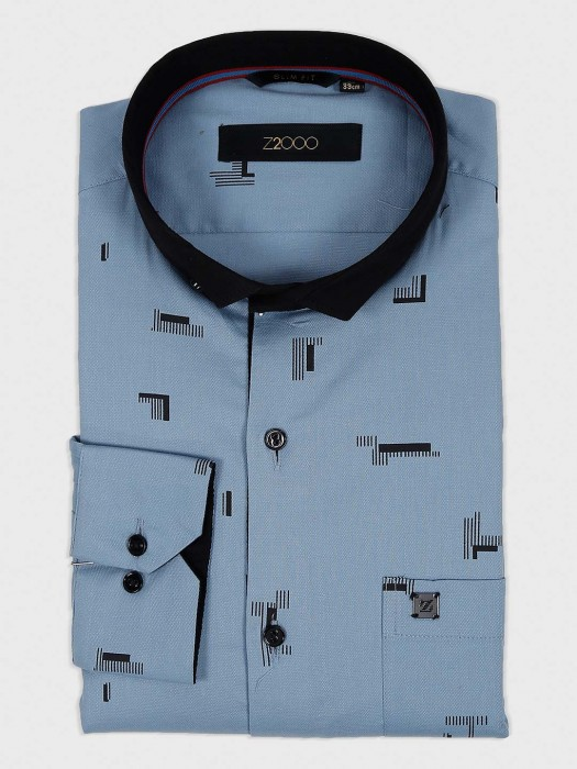 Zillian Light Blue Printed Slim Fit Shirt