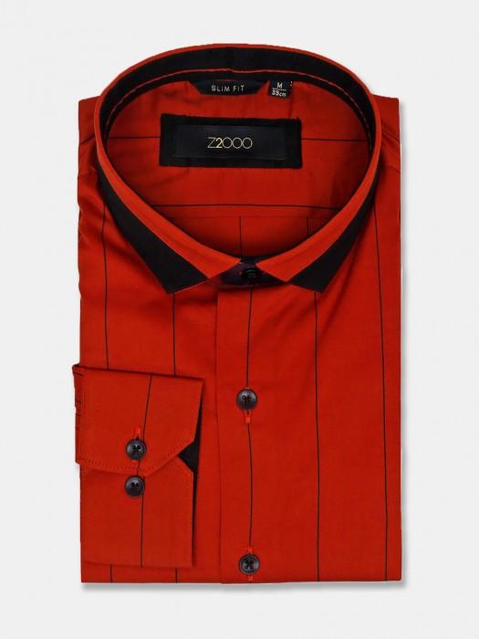 Zillian Red Cotton Stripe Slim Fit Shirt