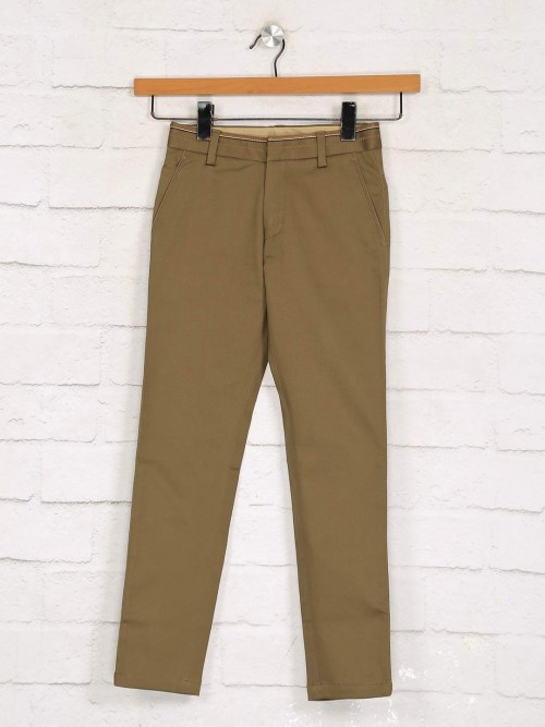 Zillian Solid Khaki Cotton Boys Trouser