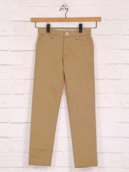 Zillian Solid Khaki Trouser In Cotton