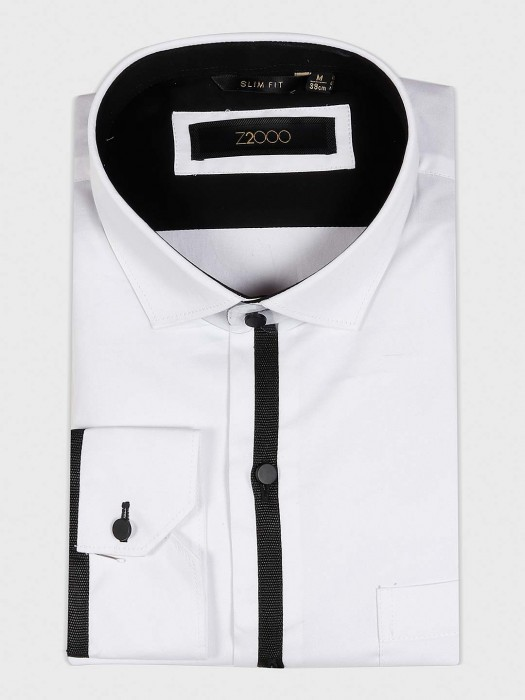 Zillian Solid White Hued Cotton Shirt
