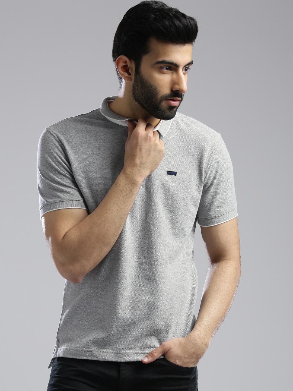 Levis grey hue cotton slim fit t shirt g3 mts5698 for Levis plain t shirts
