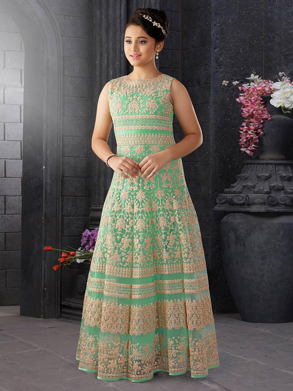 Light green net fabric gown - G3-GGO0540 | G3fashion.com