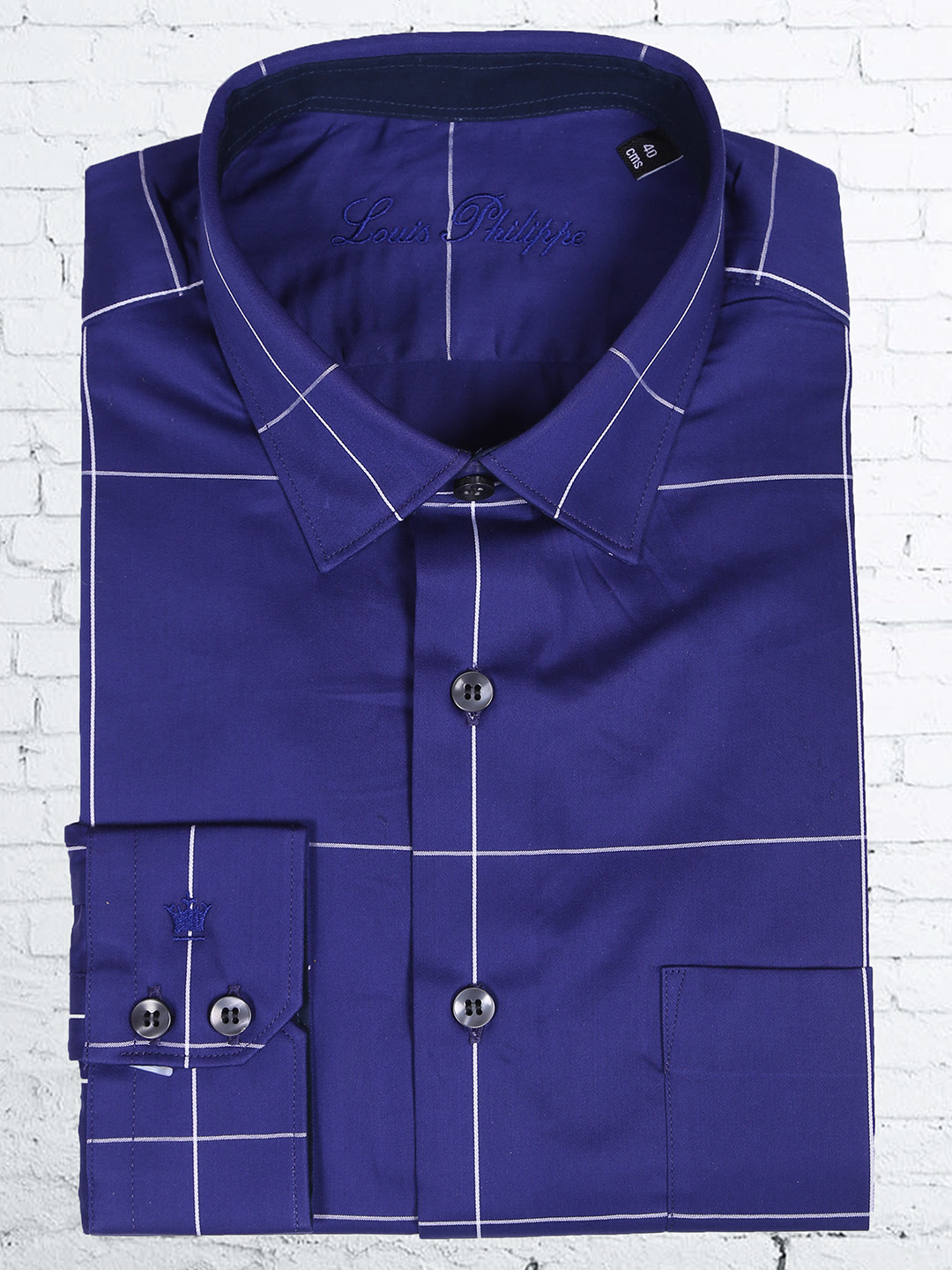 Louis philippe cotton navy blue color check lines shirt for Navy blue color shirt