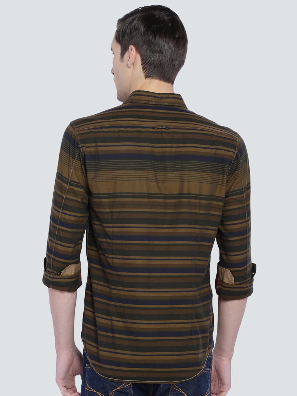 Lp brown hue cotton slim fit shirt g3 mcs4057 for Slim fit cotton shirts