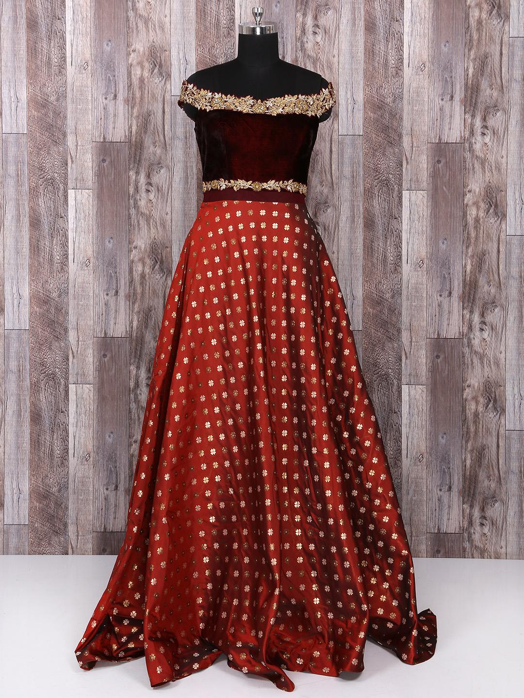 Maroon color wedding gown - G3-WO1029 | G3fashion.com
