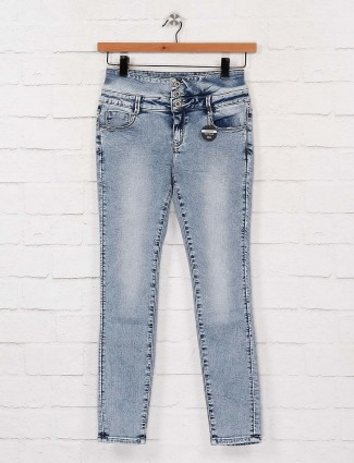 `Deal light grey wash effect high waist denim jeans