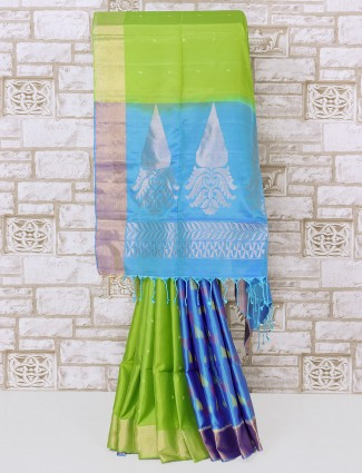 Green and blue half and half silk saree for party