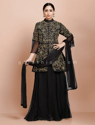 Black jacket style kurti with lehenga in raw silk