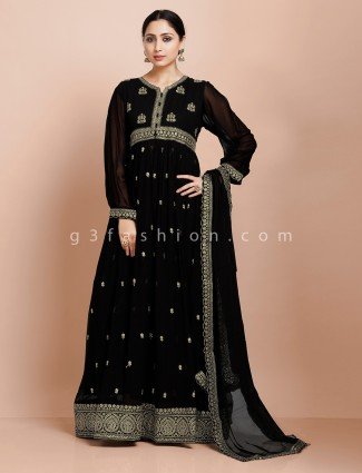 Black kurti with dupatta in georgette for wedding