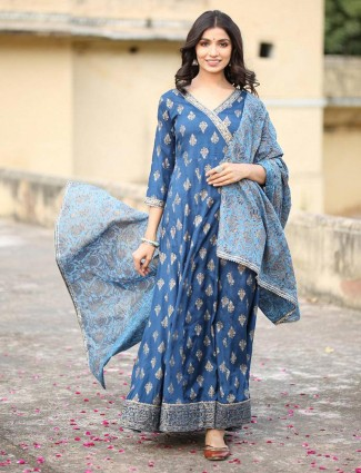 Blue cotton kurti for festive with odhani