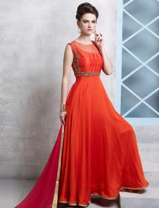 Cotton silk orange party wear designer anarkali salwar kameez