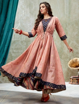 Cotton silk peach long anarkali kurti for festive