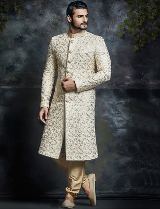 Cream silk wedding wear sherwani