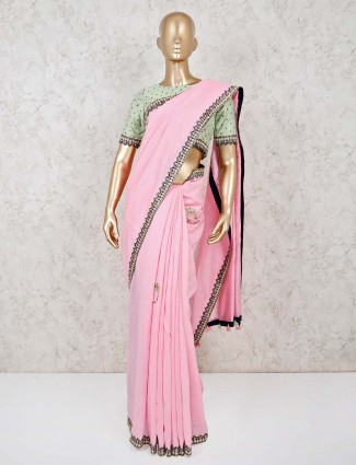 Designer pink silk ready made blouse saree for festive