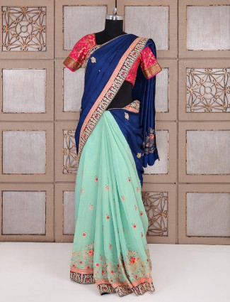 Green and blue half and half silk saree