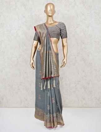 Grey festive wear saree in muga silk