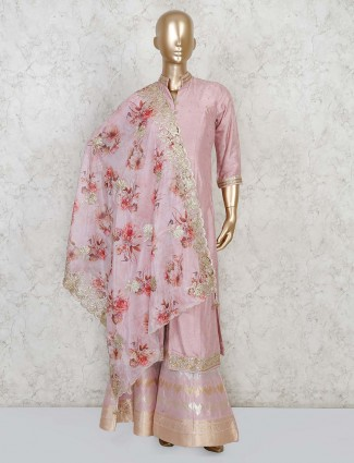 Light pink jacket style sharara suit for festive