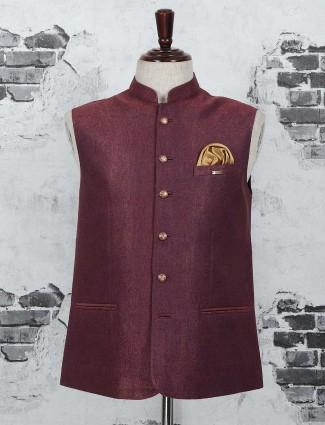 maroon festive waistcoat