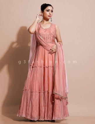 Peach floor length indo-western dress for party in georgette with odhani
