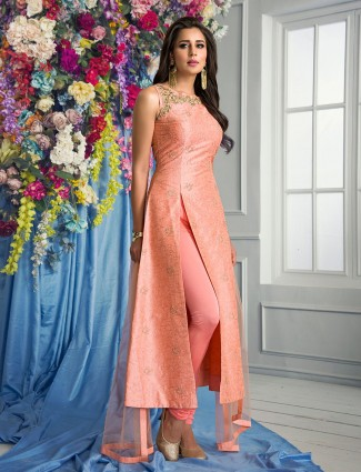 Peach silk festive wear salwar suit