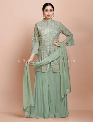Powder green designer set in raw silk for wedding