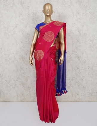 Red satin saree with readymade blouse for party