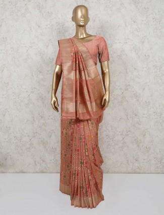 Semi banarasi silk saree in peach for party