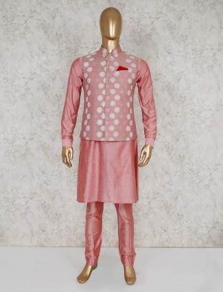 Silk pink waistcoat kurta set for mens