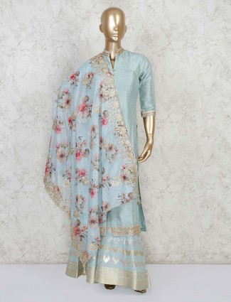 Sky blue jacket style sharara suit for festive