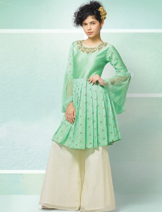 Teal green sharara suit for party