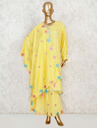 Yellow kurti with flared sharara in cotton silk