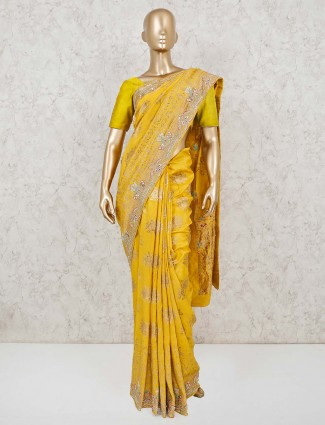 Yellow muga silk wedding saree with golden thread weaving